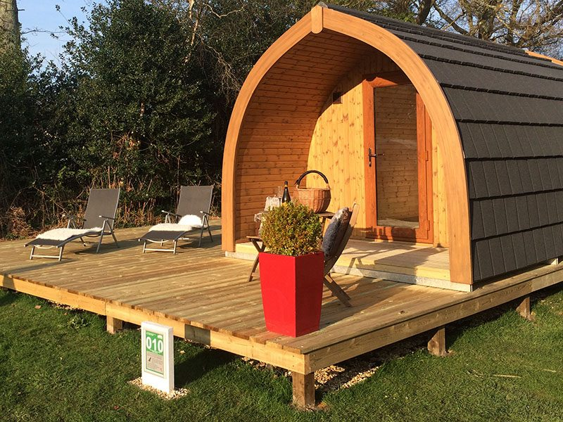 Exterior of large glamping pod Woodpecker