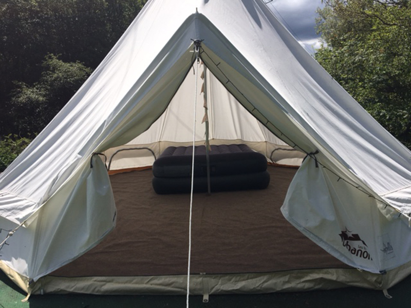 Spacious bell tent interior