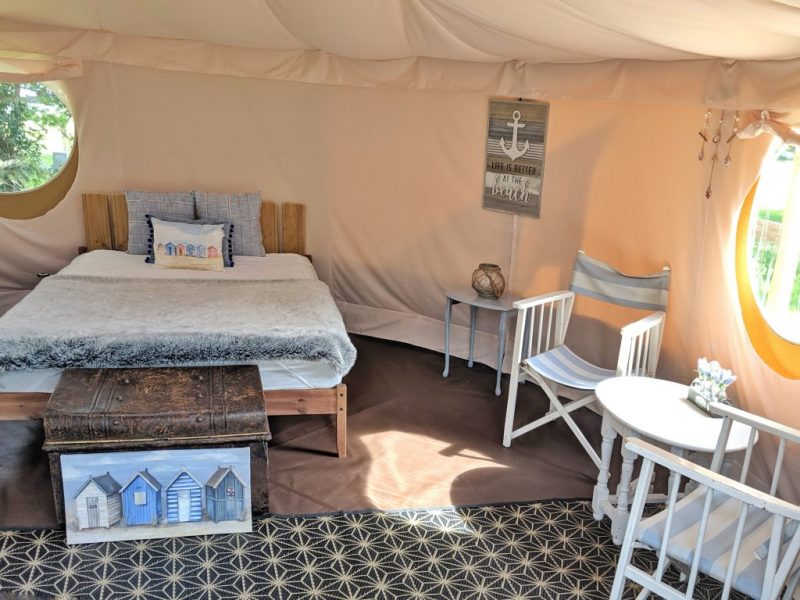 Inside the glamping yurt Beach
